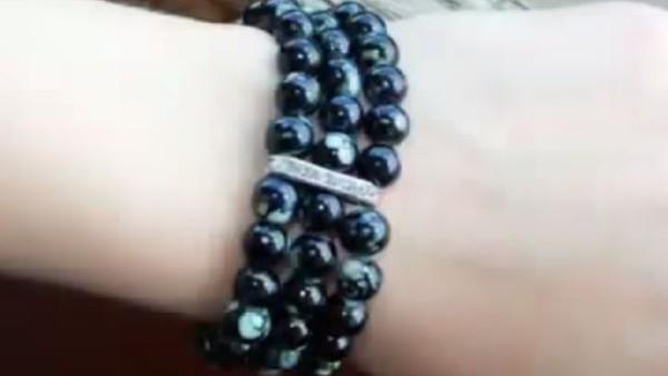 Тройной браслет из бусин